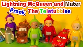 WHATS INSIDE The Teletubby Play Set, Lightning and Mater Prank The Teletubbies