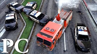 GTA 5 Online PC Gameplay : Firetruck Police Chase 60FPS