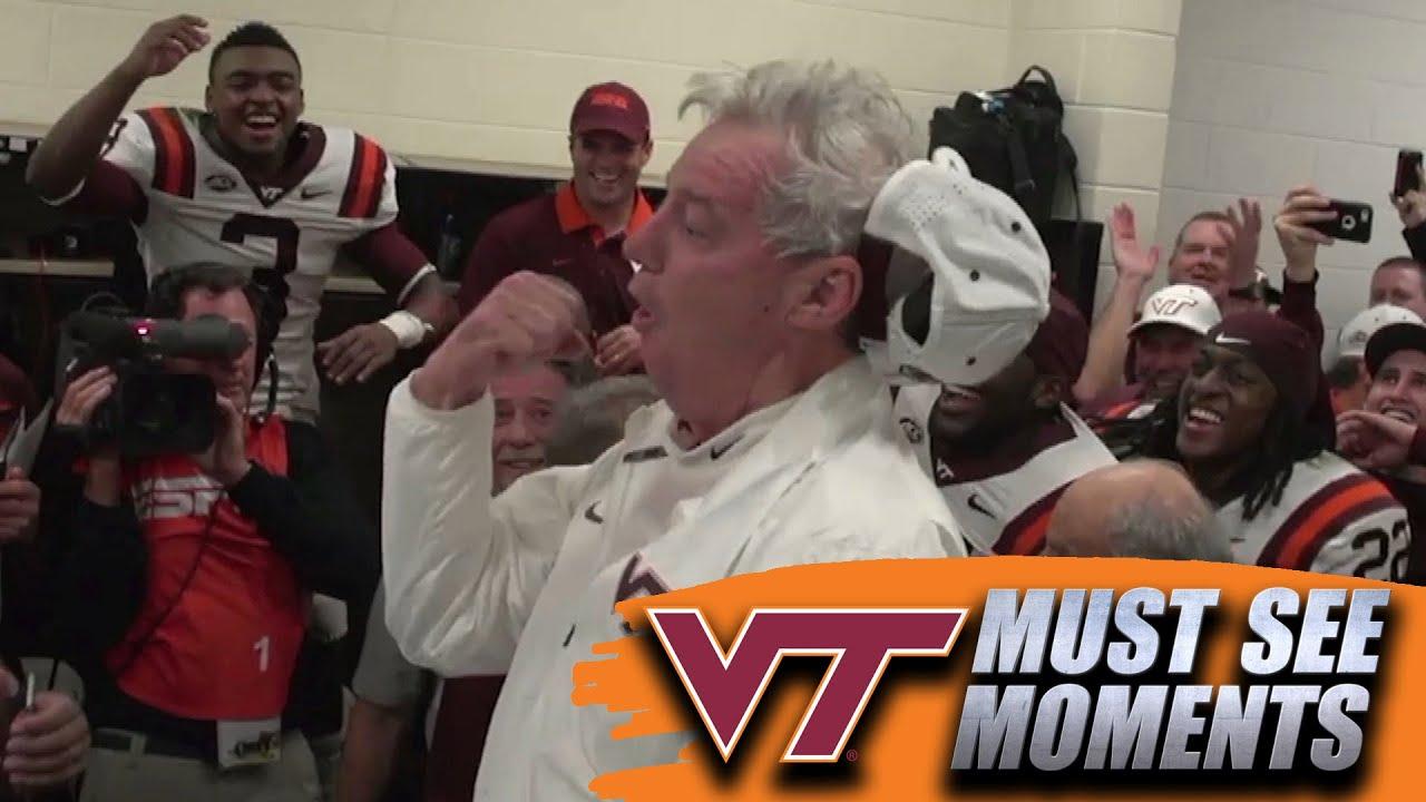 Virginia Tech's Frank Beamer Dances in Locker Room After Win Over UVA