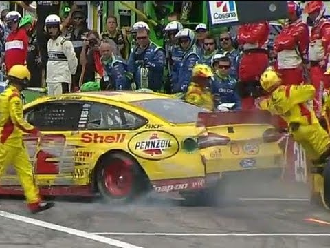 NASCAR Joey Logano Clips Pit Crew Member | CAMPING WORLD RV SALES 301, New Hampshire