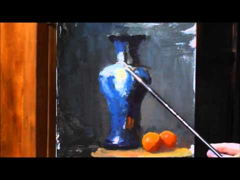 Painting Alla Prima- Blue & White Patterned Vase - Oil