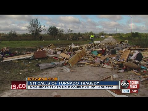 A tornado in Duette claimed two lives Sunday; 911 calls released reveal neighbors comforting injured