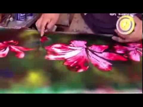 Flowers spray paint art