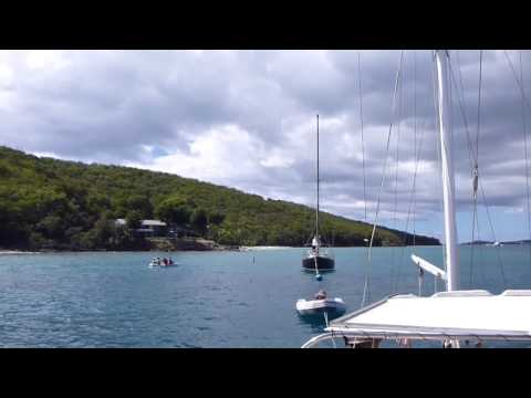 Mooring Our Sailboat - Honeymoon Beach, St. John USVI