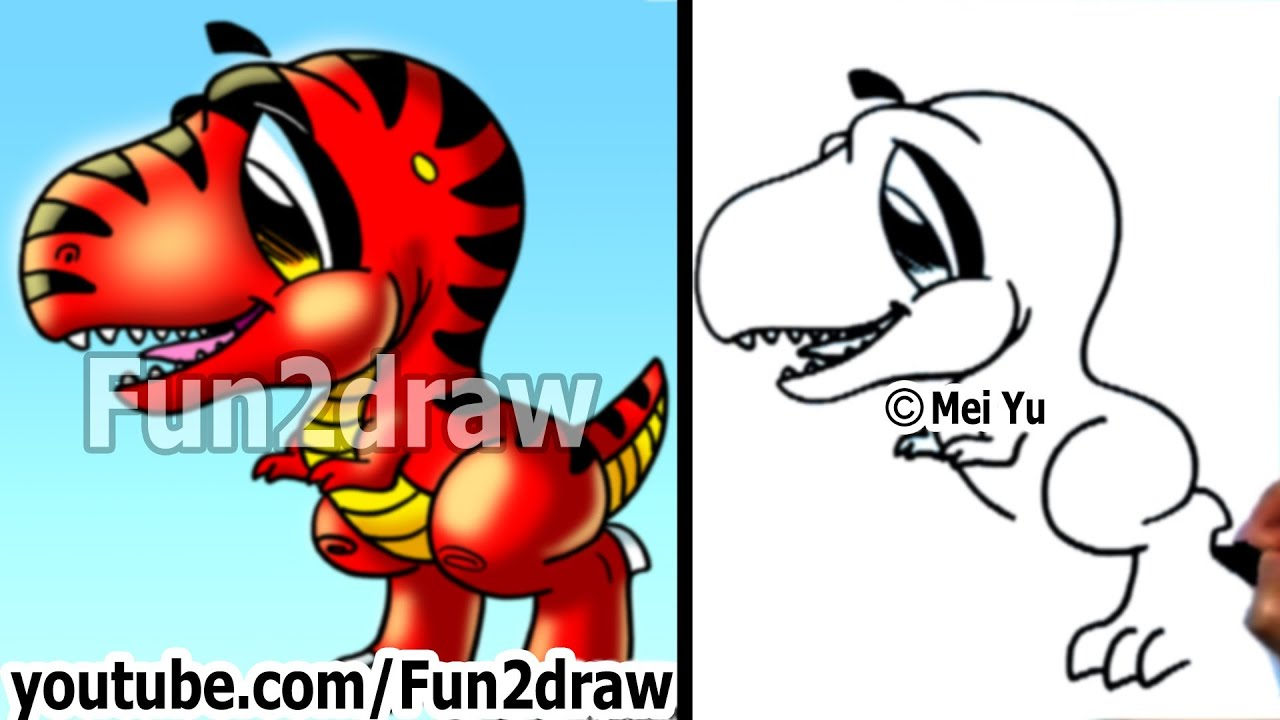 Fun things to draw how to draw a dinosaur t rex for Fun and easy pictures to draw