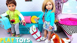 Dolls  Packing Clothes in Travel Suitcases!