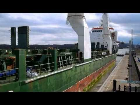 Ships BBC QUEBEC & PETER R. CRESSWELL passing on Welland Canal - time lapse