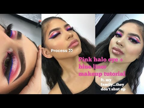 Pink Halo Eye + Blue Liner Makeup Tutorial ft. my family... (since they don't stop talking!)