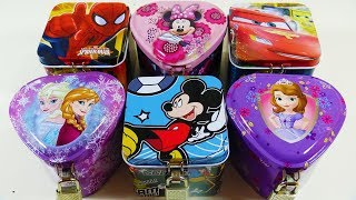 Opening Disney Frozen & Mickey Mouse Jewelry Boxes Filled with Surprise Toys for Children