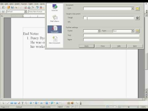 OpenOffice: Creating Links