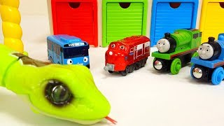 Tayo the little bus Garage & Iron Man, Snake in the Box, Thomas & Friends, Chuggington