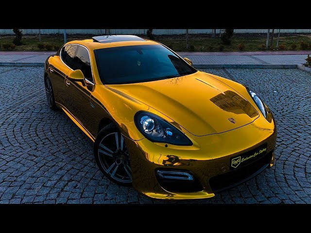 Porsche Panamera GTS  GOLD CHROME WRAP Music Clip  Eurythmics - Sweet Dreams Dwin  Echo Remix