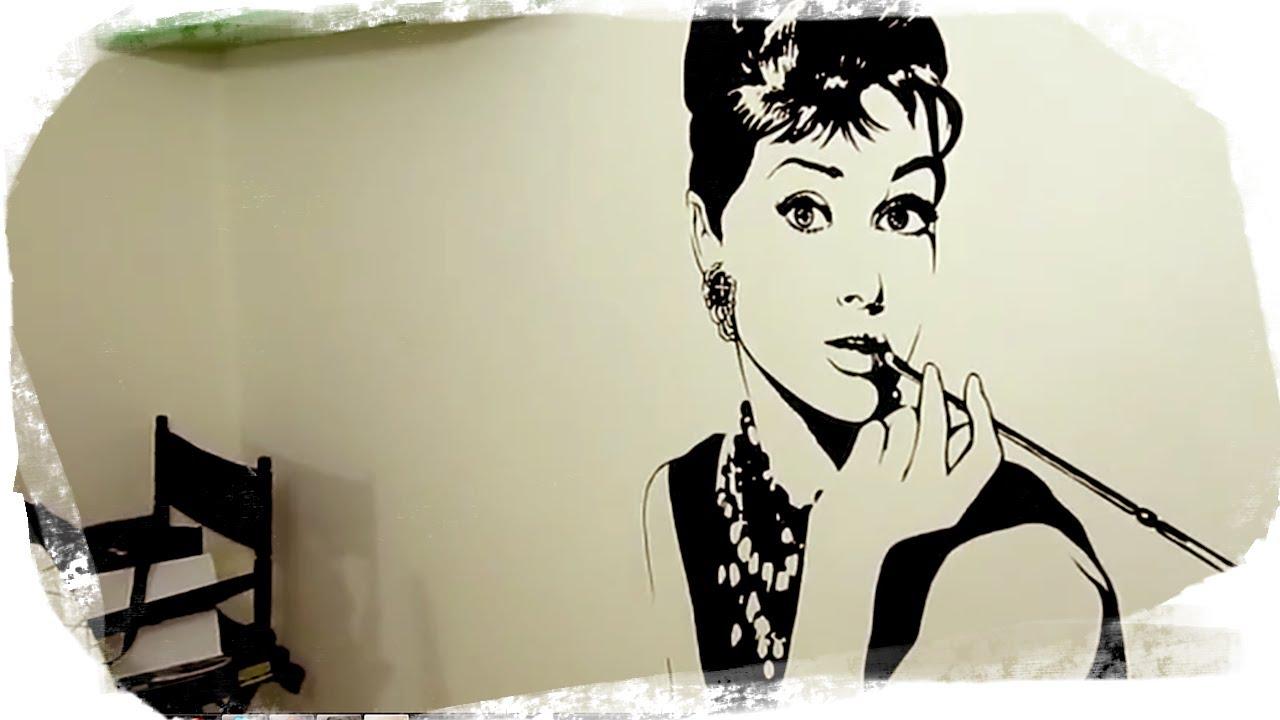 Audrey hepburn mural breakfast with acrylics youtube for Audrey hepburn mural