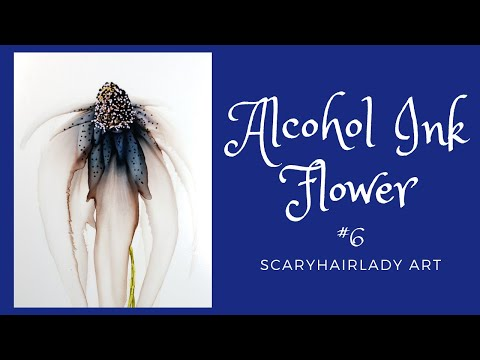 Alcohol Ink Flower with Pitch Black only