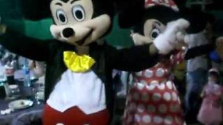 Mickey ve Minnie Mouse Maskot Kostüm Dans Show