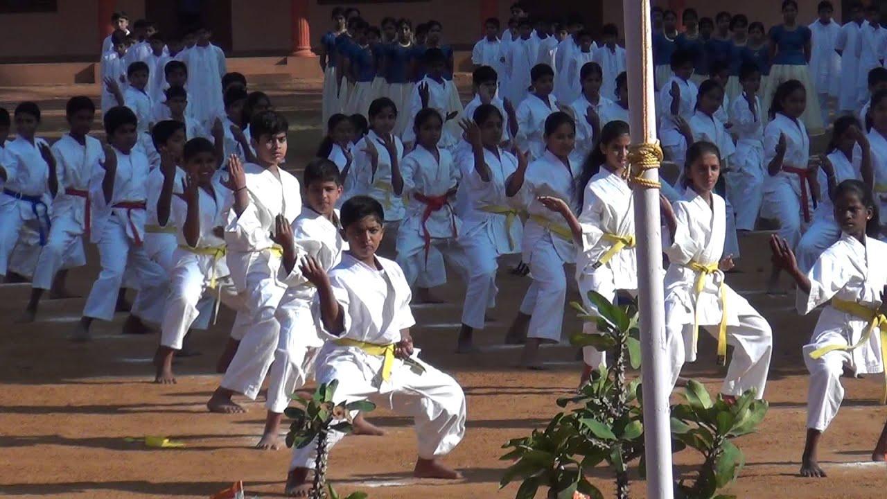 kids of shaolin  karate kids at hari sri vidhya nidhi school punkunnan thrissur kerala india