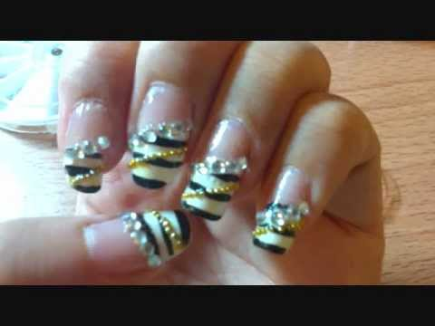 G.na Black And White Nails video