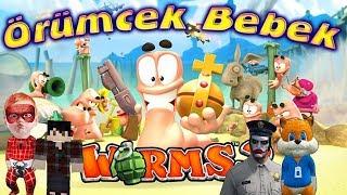 Worms Oyunu Örümcek Bebek ve Cücük Sincap ve Kuzen Joker'e Karşı