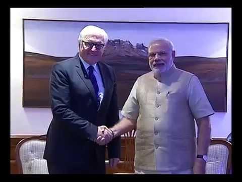 German Foreign Minister Frank-Walter Steinmeier calls on PM Narendra Modi