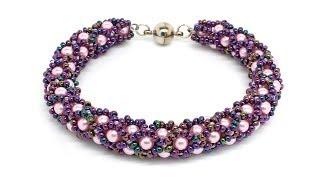 Красивый браслет жгут из бисера и бусин своими руками DIY Bracelet from beads