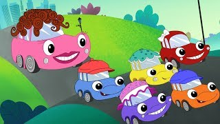 Five Little Cars Song Faster + Red Monster Truck + More Car Songs by Fun For KidsTV