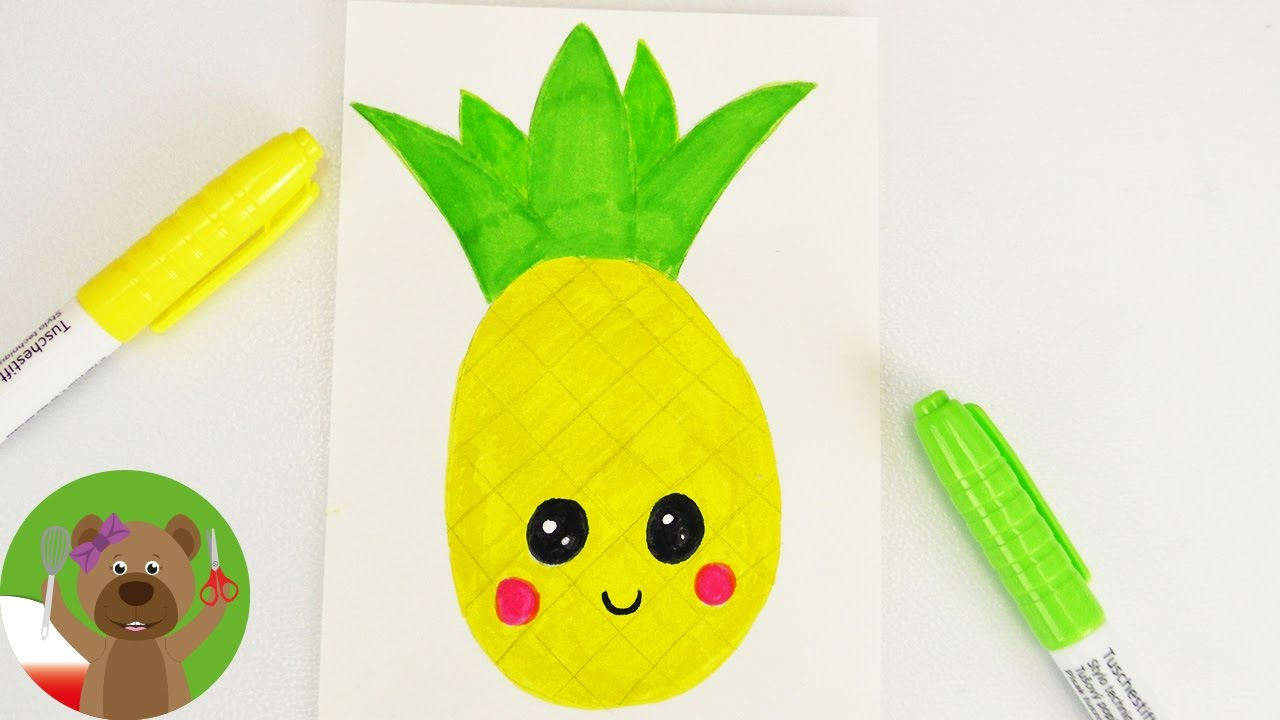 Malowanie i rysowanie dla dzieci | obrazek Kawaii | uroczy ananas | martwa natura krok po kroku