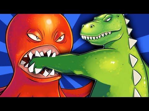 ОГРОМНЫЙ ОСЬМИНОГ против ГОДЗИЛЛЫ Веселое видео для детей в необычной игре про Осьминога #ФГТВ