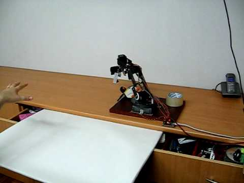 This is video about robot arm controlled by home made motion capture system. Only 2 cheap web cameras, OpenCV library and GNU/Linux operating system, are use...