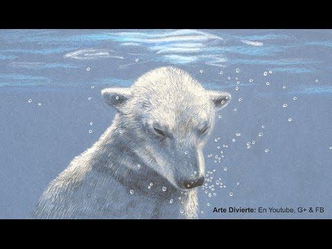 Cómo dibujar un oso polar bajo el agua, con lápices de colores - Burbujas