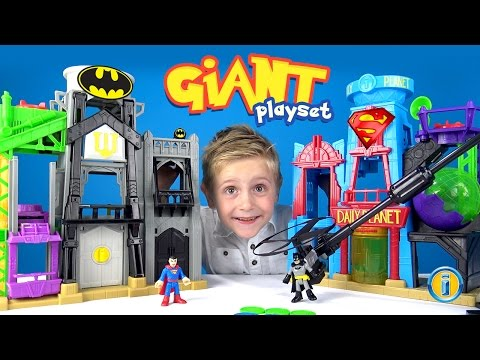 GIANT Batman Imaginext Gotham City & Superman Metropolis Unboxing & ToysReview by KID CITY