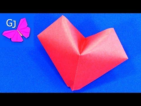 Оригами СЕРДЦЕ из бумаги ❤️ Объемная Валентинка
