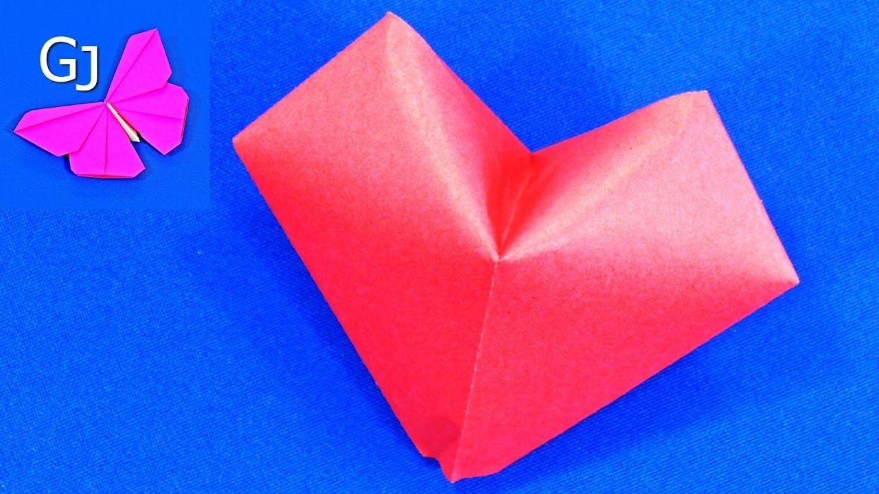 Объемное сердце оригами своими руками