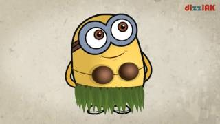 Minions. Study shapes, collors, clothing. Developing cartoon for kids