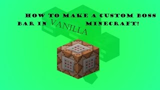 how to make a boss bar! Minecraft 1.8.8