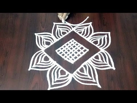 Deepam Kolam Design ||  Leafs And Deepak Rangoli5 x 1  || Deepam Muggulu || Fashion World