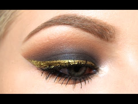 Black Smokey Eye w/ Gold Liner | Tutorial