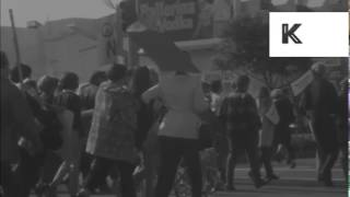 1960s USA Anti War Protest, POV Walking With Protestors, HD from 16mm