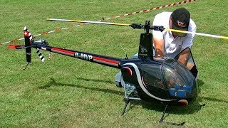 HUGE RC ROBINSON R-22 SCALE MODEL ELECTRIC HELICOPTER FLIGHT DEMONSTRATION