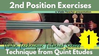 Violin  Technique Tutorial | 2nd Position Exercise 1 | Quint Etudes