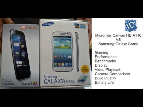 Micromax Canvas HD A116 VS Samsung Galaxy Grand- Gaming. Benchmarks. Camera. Performance. Display