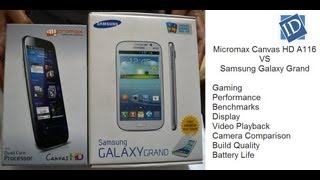 Micromax Canvas HD A116 VS Samsung Galaxy Grand- Gaming, Benchmarks, Camera, Performance, Display