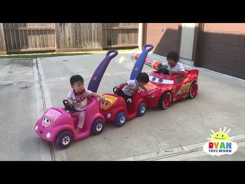 Ryan's Drive Thru Adventure with Lightning McQueen Power Wheels Ride On Car