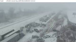 Deadly 70-car pileup in Iowa caught on camera