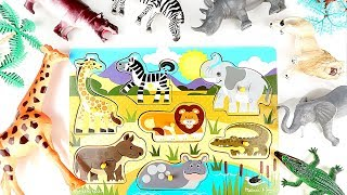 Animals Wooden Puzzle-Learn Wild Animals Names And Sounds For Kids-Funny Videos Of Animals-For Kids
