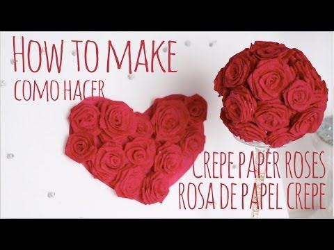 Como hacer rosas de papel crepe / How to make crepe paper roses ...