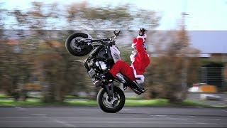 Crazy Santa Claus Motorcycle Stunts -  Happy New Year 2014