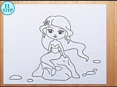 Mermaids Cartoon Drawing How to Draw a Mermaid