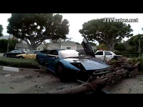 Lamborghini Murcielago crashing into palm tree In Beverly Hills