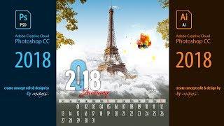 Professional Printable Calendar Design Free Download I Adobe Photoshop-Illustrator CC 2018 Tutorial