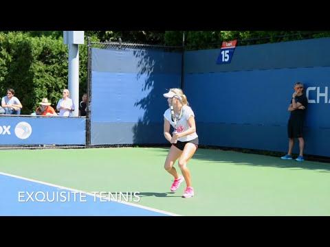 Eugenie Bouchard Practice US Open 2014 W/ Slow Motion Footage